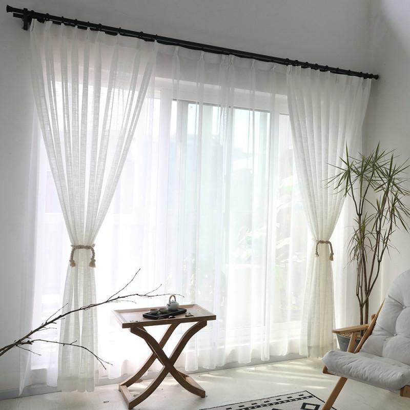 Minimalismus Gardine Weiß Unifarbe Im Wohnzimmer von Wohnzimmer Gardinen Weiß Photo