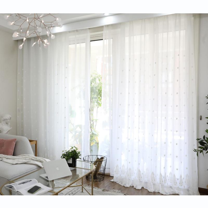 Minimalismus Gardinen Mit Blumen Stickerei In Weiß Für von Wohnzimmer Gardinen Weiß Photo