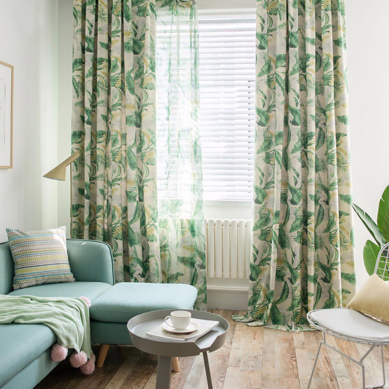 Minimalismus Vorhang Groß Grün Blätter Design Im Wohnzimmer von Gardinen Wohnzimmer Grün Photo