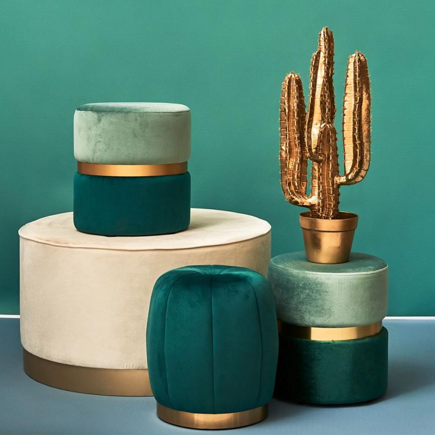 Mint Grün  Gold Vereint💚 Unsere Trendigen Samthocker von Deko Mint Wohnzimmer Photo