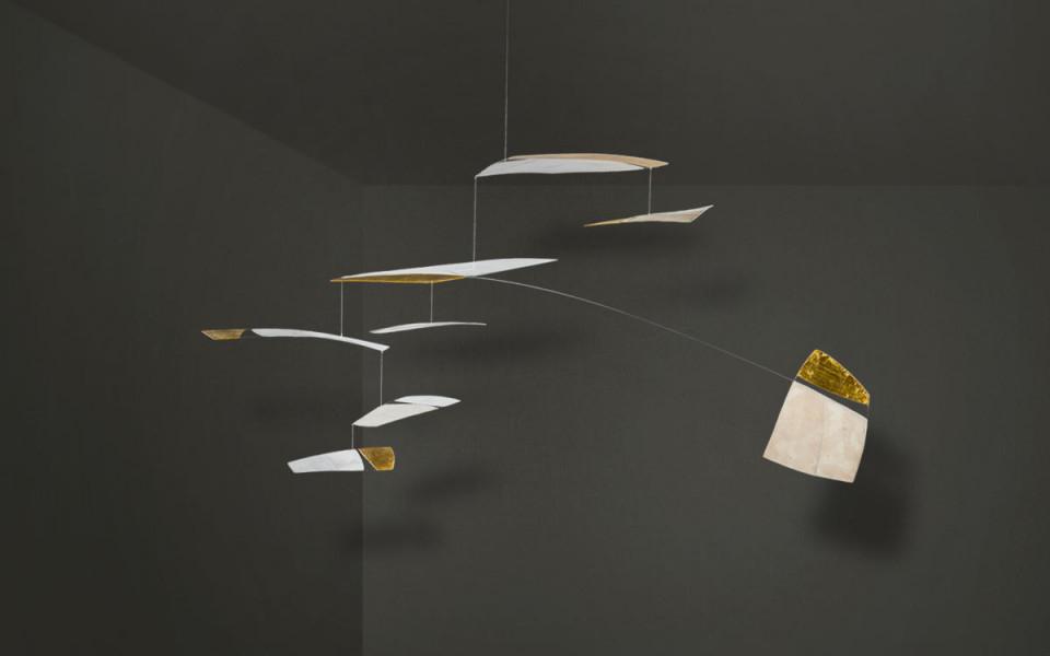 Mobilé – Ronja (Weiß Blattvergoldet Groß) von Deko Mobile Wohnzimmer Bild