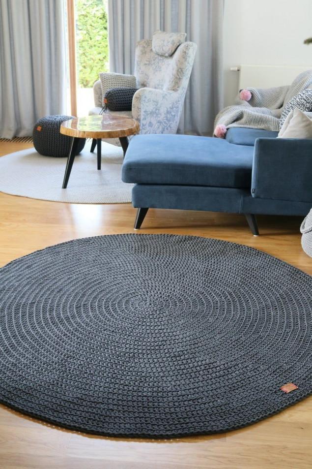 Modern Dark Gray Round Rug Round Rug Nursery Rug von Teppich Wohnzimmer Rund Bild