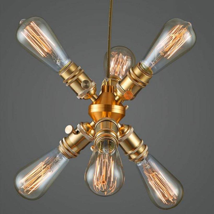 Modern Deckenlampe Kupfer Kronleuchter Wohnzimmer Lampe Einzelkopf  Kronleuchter von Kupfer Lampe Wohnzimmer Bild