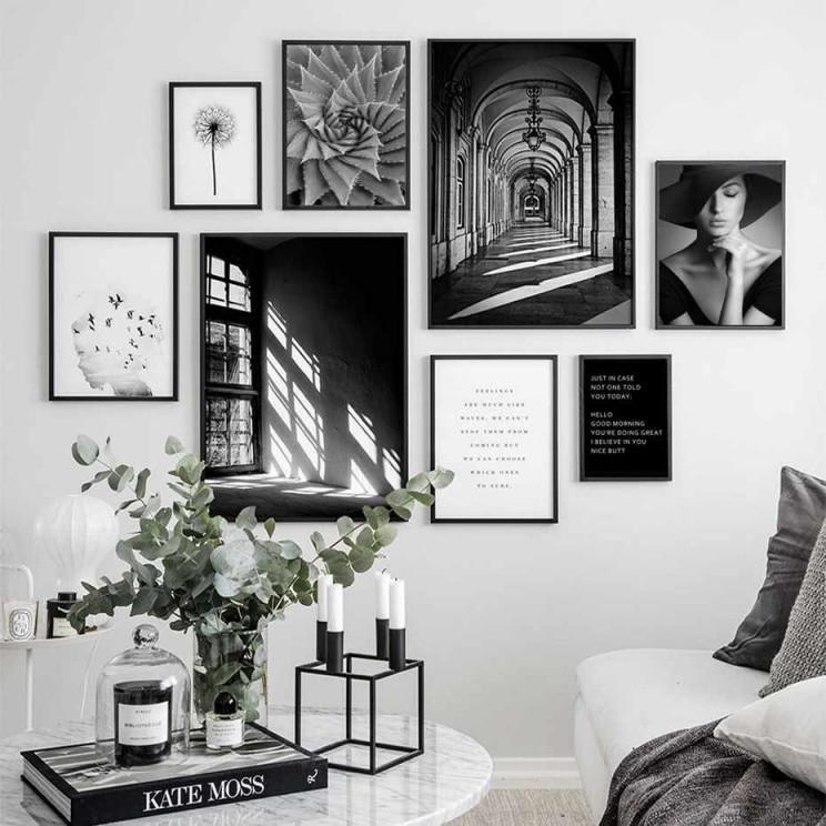 Moderne Abstrakte Skandinavien Stil Szene Leinwand Malerei von Schwarz Weiß Bilder Wohnzimmer Photo