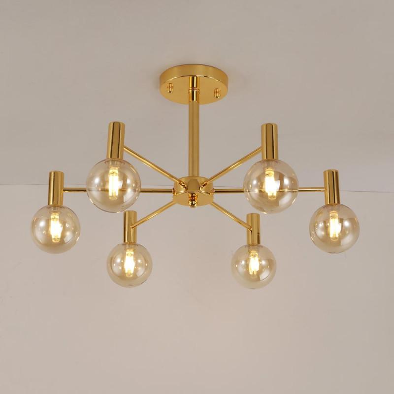 Moderne Deckenleuchte Kugel Design Aus Glas Und Eisen In Golden von Deckenleuchte Wohnzimmer Gold Photo