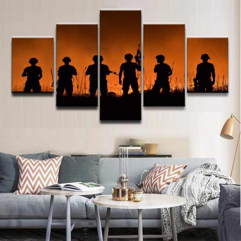 Moderne Dekorative Rahmen Wohnzimmer Wand Kunst 5 Stück Bilder Military  Soldat Leinwand Malerei Hd Gedruckt Modulare Poster von Bilder Mit Rahmen Wohnzimmer Bild
