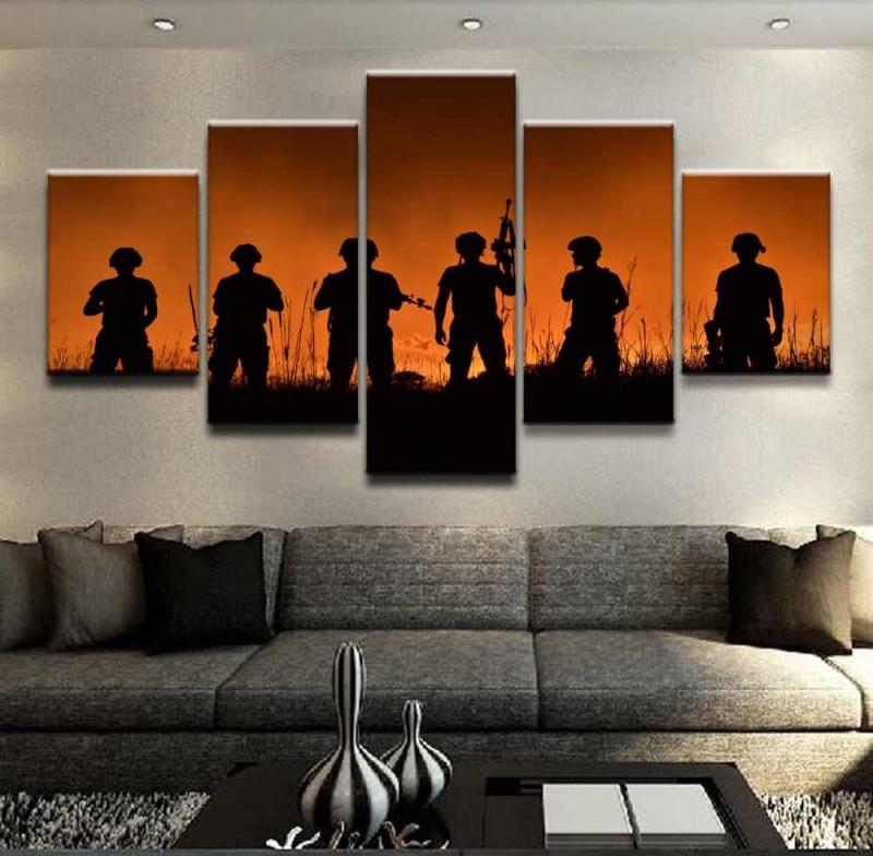 Moderne Dekorative Rahmen Wohnzimmer Wand Kunst 5 Stück Bilder Military  Soldat Leinwand Malerei Hd Gedruckt Modulare Poster von Dekorative Bilder Wohnzimmer Photo