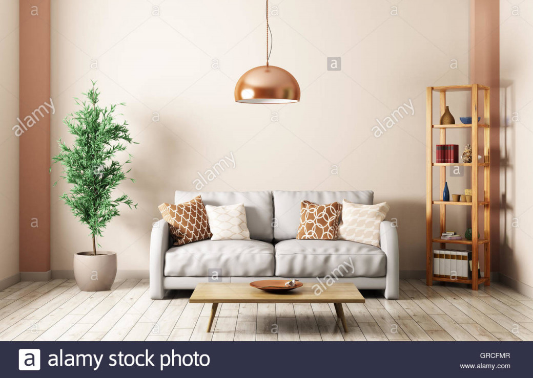 Moderne Einrichtung Von Wohnzimmer Mit Sofa Grau Lampe von Wohnzimmer Lampe Über Couchtisch Bild