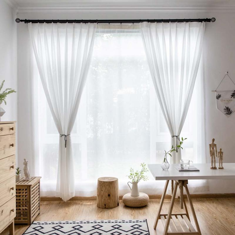 Moderne Gardinen Weiß Aus Chiffon Für Wohnzimmer Transparent von Schöne Gardinen Wohnzimmer Bild