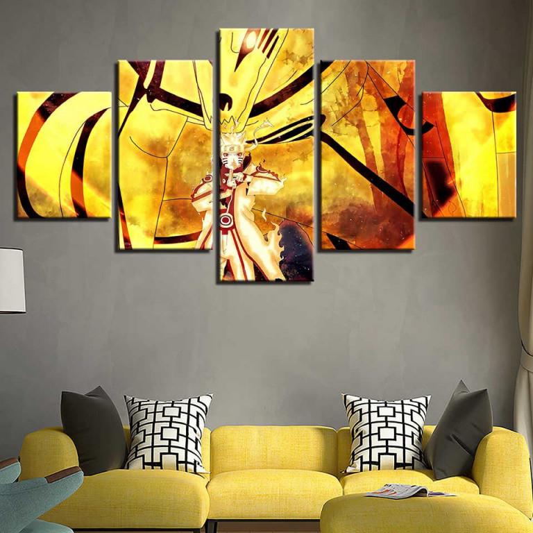 Moderne Leinwand Bilder Hd Gedruckte Wandkunst Rahmen 5 Stücke Anime Naruto  Zeichen Szene Wohnzimmer Wohnkultur Gemälde Poster von Moderne Bilder Wohnzimmer Mit Rahmen Bild