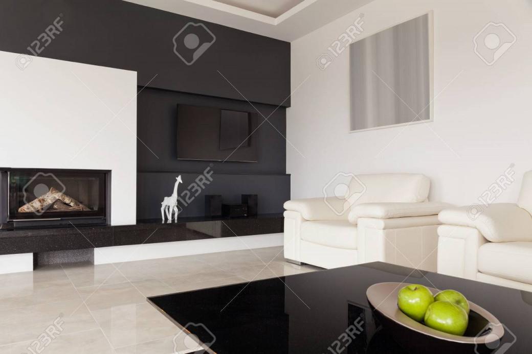 Moderne Schwarzweißwohnzimmerdesign von Bilder Für