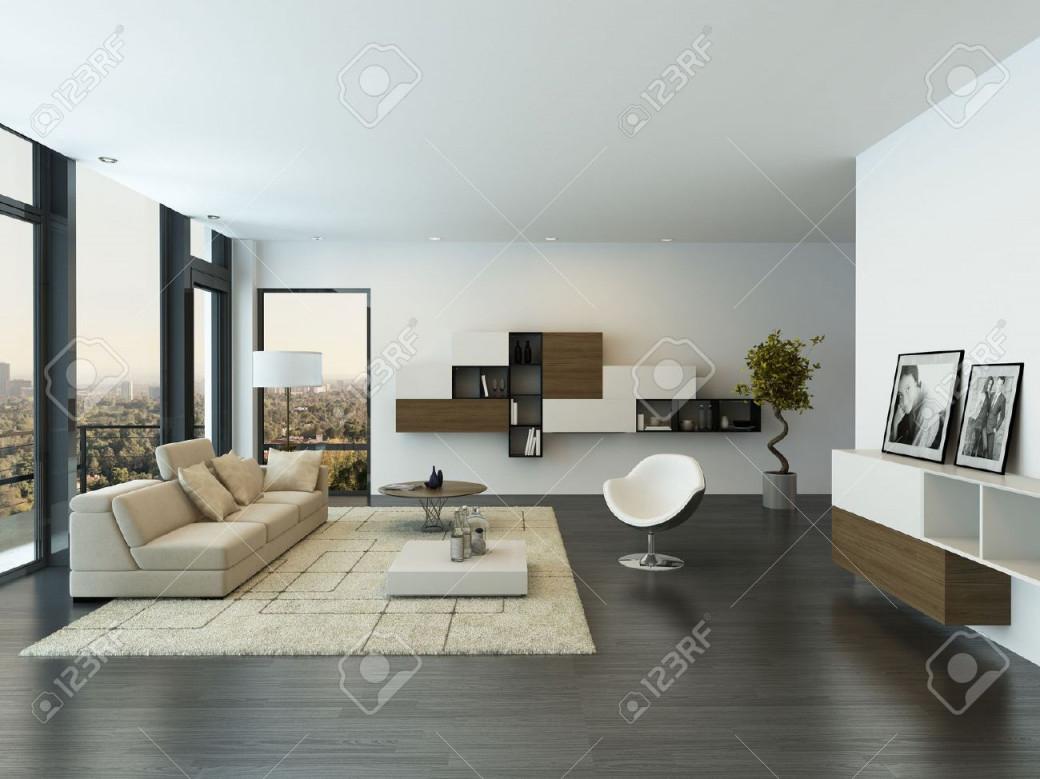 Moderne Wohnzimmer Innenraum Mit Großen Fenster von Moderne Bilder Wohnzimmer Bild