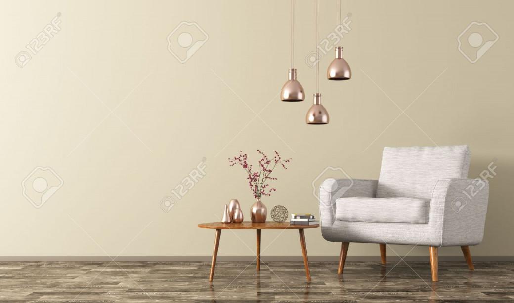 Moderne Wohnzimmer Interieur Mit Couchtisch Aus Holz Weißen Sesseln Und  Kupferlampen 3Drendering von Wohnzimmer Lampe Über Couchtisch Bild