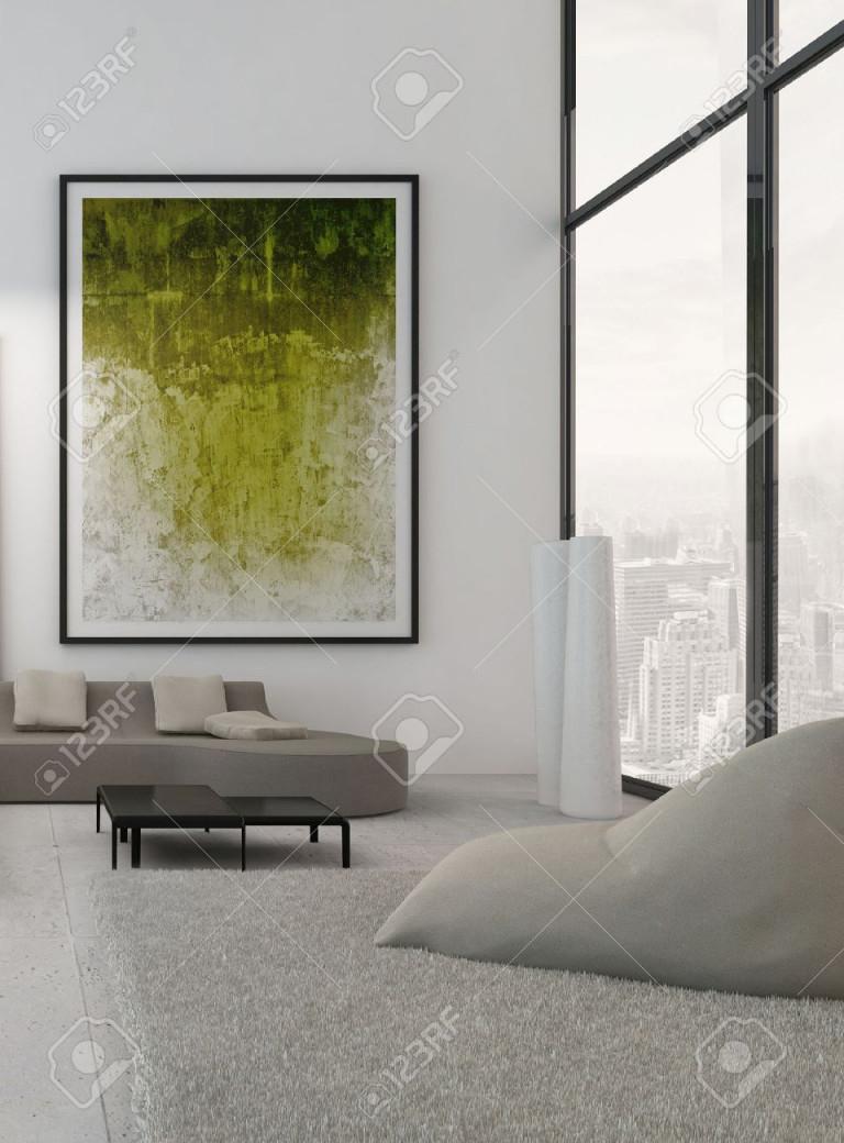 Moderne Wohnzimmer Interieur Mit Grünen Gemälde An Der Wand von Bilder Gemälde Für Wohnzimmer Bild