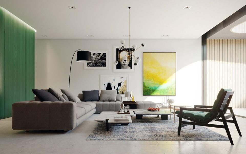 Moderne Wohnzimmerfarben  Trendge Einrichtungsideen In von Moderne Bilder Für Wohnzimmer Photo