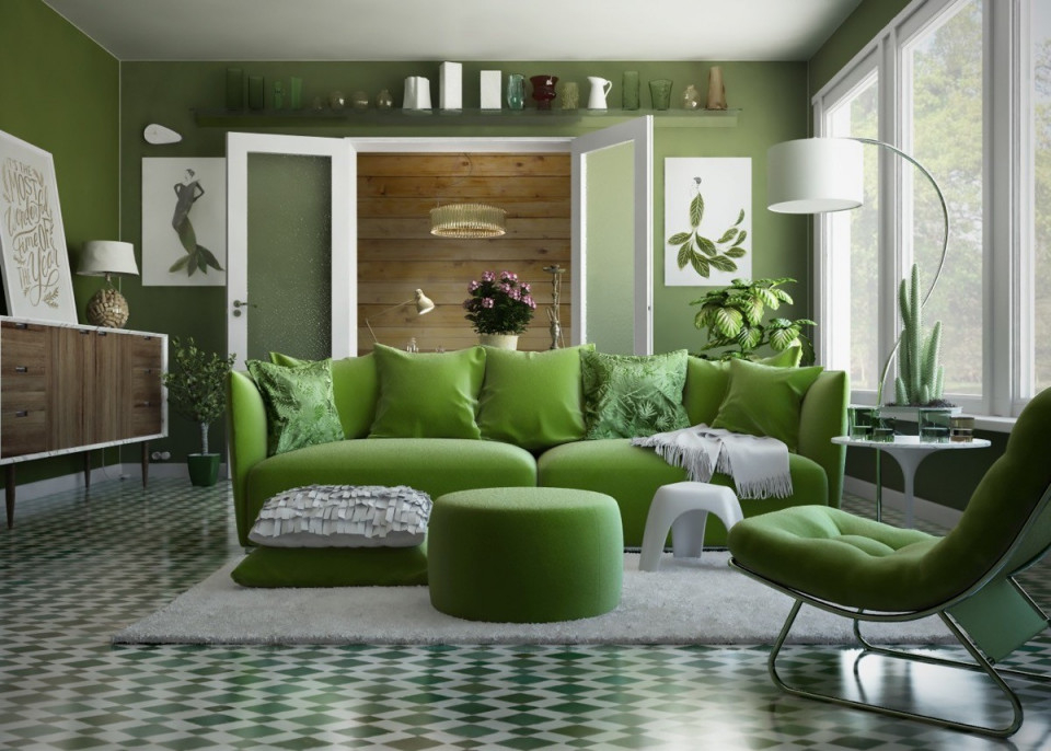 Moderne Wohnzimmerfarben  Trendge Einrichtungsideen In von Wohnzimmer Ideen Grün Photo