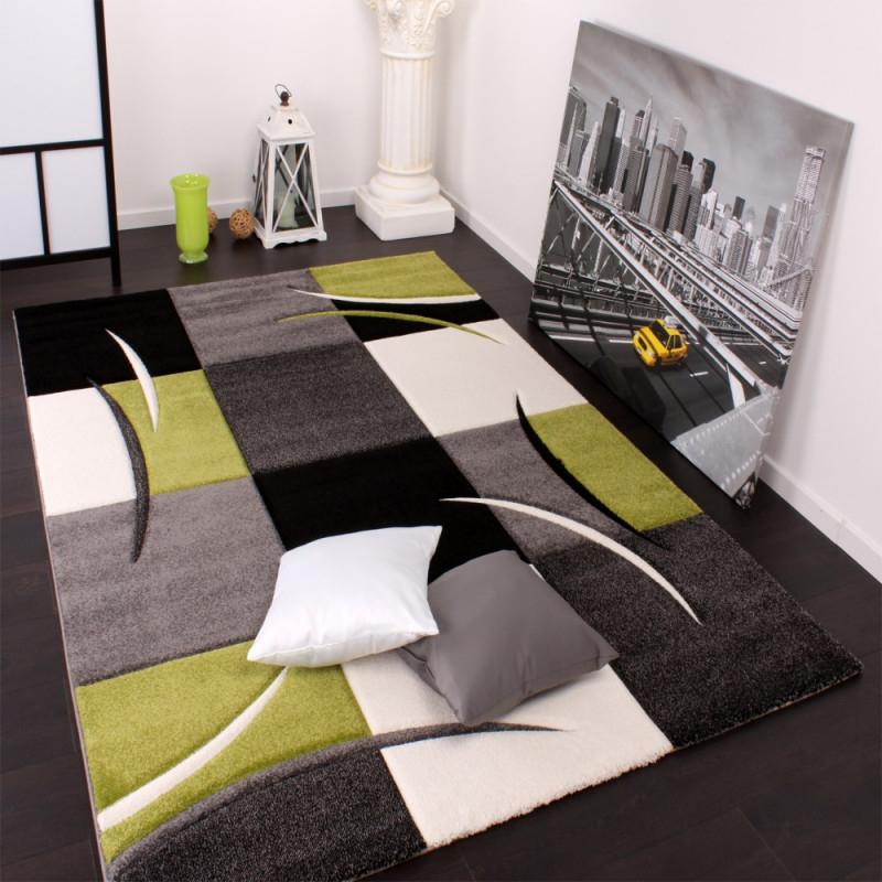 Moderner Teppich Wohnzimmer Karo Grün Schwarz  Mirai von Grüner Teppich Wohnzimmer Photo