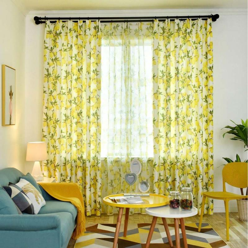 Moderner Vorhang Mit Zitronen Motiv Für Wohnzimmer von Halbe Gardinen Wohnzimmer Bild