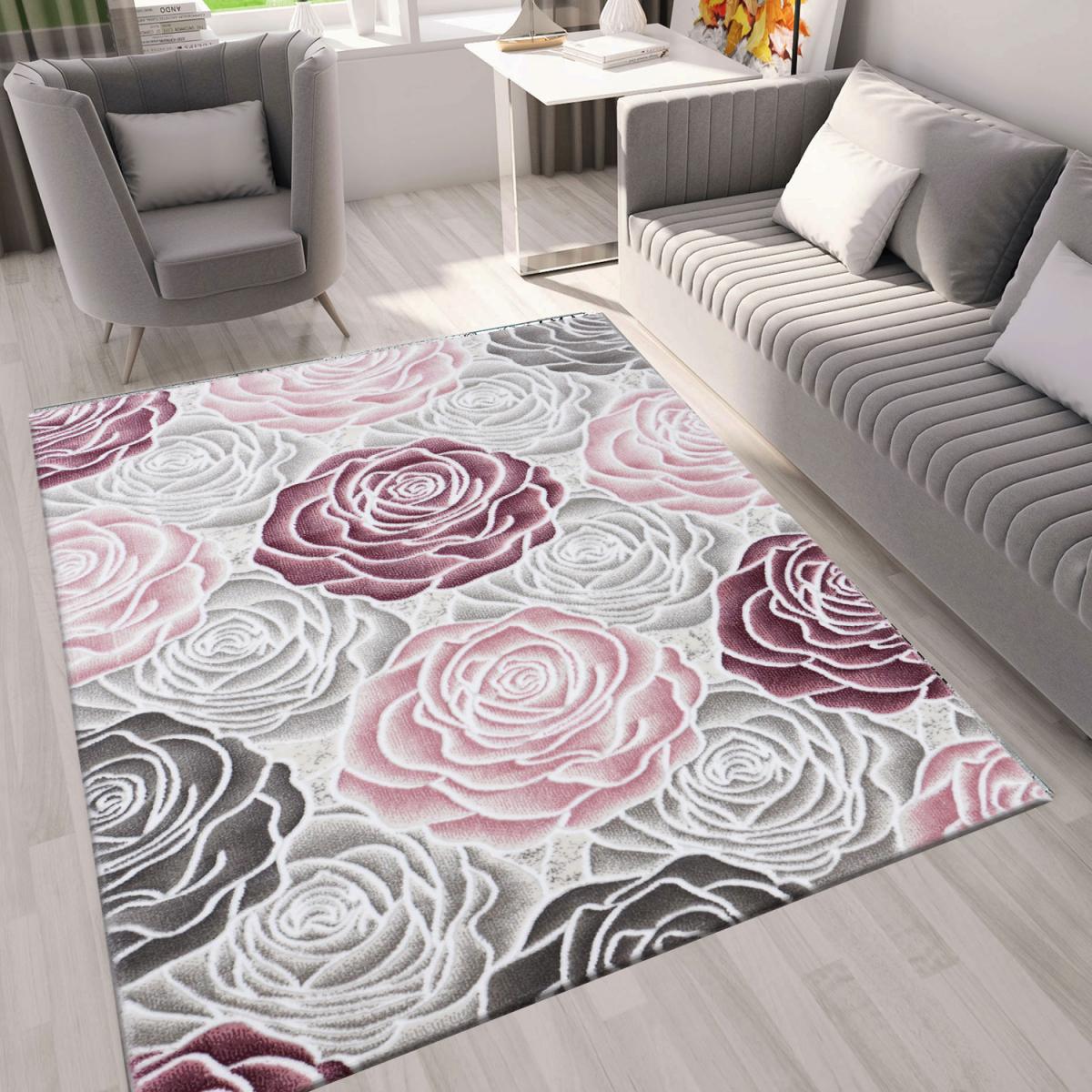 Moderner Wohnzimmer Teppich Rosen Muster In Rosa Grau Creme von Wohnzimmer Teppich Grau Rosa Photo