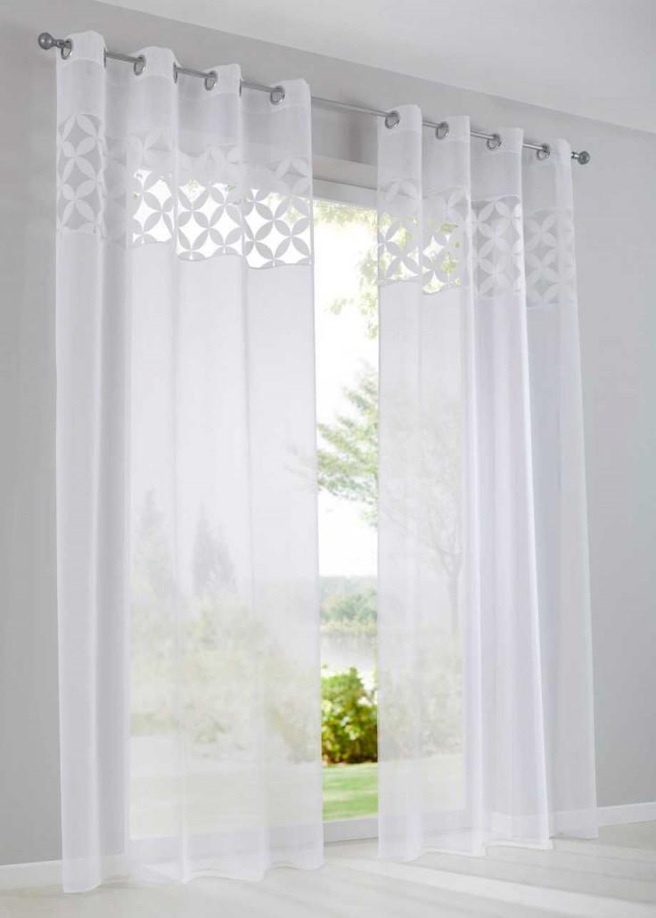 Modernes Ausbrenner Design  Weiß Kräuselband  Gardinen von Wohnzimmer Gardinen Weiß Bild