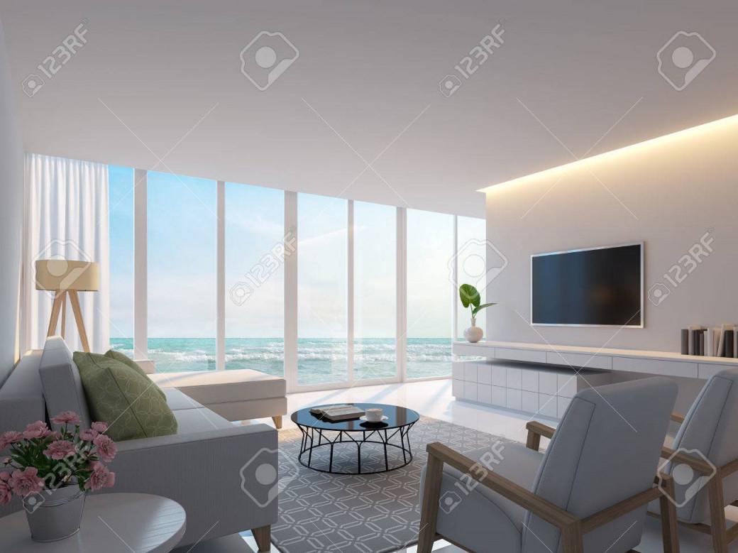Modernes Weißes Wohnzimmer Mit Meerblick 3Drenderingbild Dekorieren Wand  Mit Versteckten Warmen Licht Weiße Möbel Es Gibt Große Fenster Blick Auf von Weiße Deko Wohnzimmer Bild
