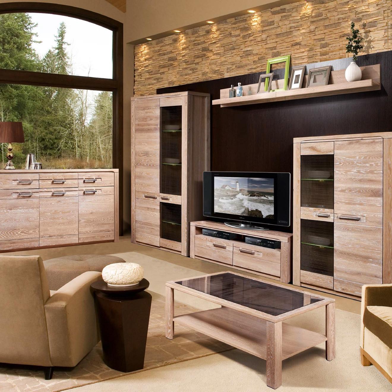 """Modernes Wohnzimmer Komplettset """"michelle"""" Massivholz Gebleichte Eiche von Moderne Holzmöbel Wohnzimmer Bild"""