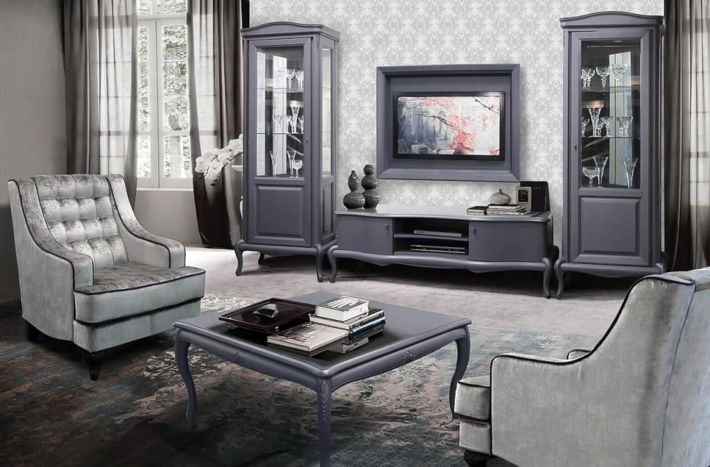 Mokko Exklusive Designwohnzimmermöbel Im Modernen Barockstil Grau Mit  Bordeaux Touch von Wohnzimmer Bilder Grau Bild