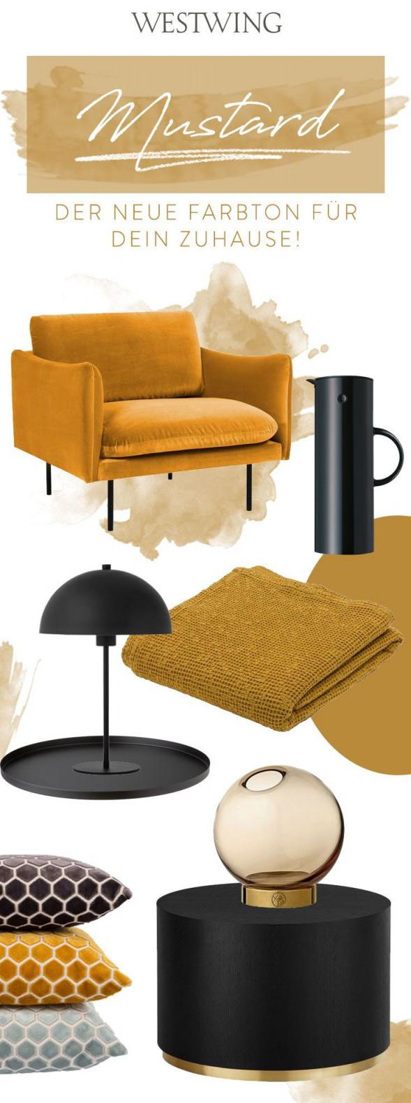 Mustard  Der Neue Farbton Für Dein Zuhause Neue Saison von Deko Gelb Wohnzimmer Photo