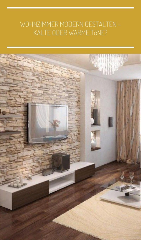 Natursteinwand Im Wohnzimmer Und Warme Beige Nuancen von Wohnzimmer Warm Einrichten Bild