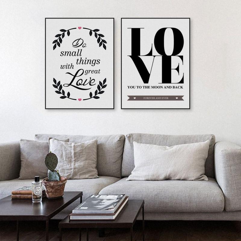Nordic Minimalistische Schwarz Weiß Love Quotes A4 von Bilder Für Wohnzimmer Schwarz Weiß Bild