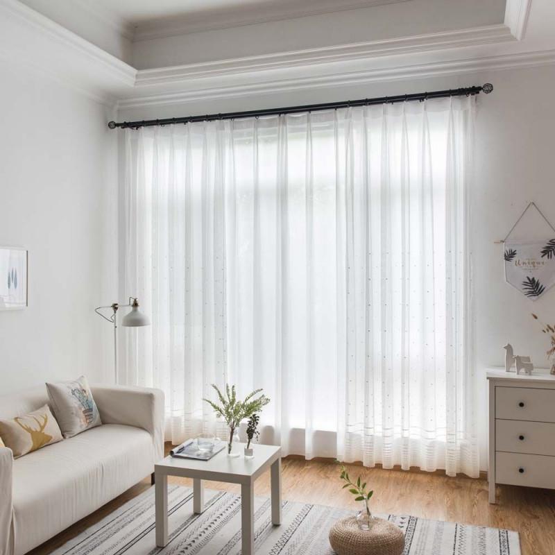 Nordische Gardinen Mit Stickerei Weiß Für Schlafzimmer von Weiße Gardinen Wohnzimmer Bild