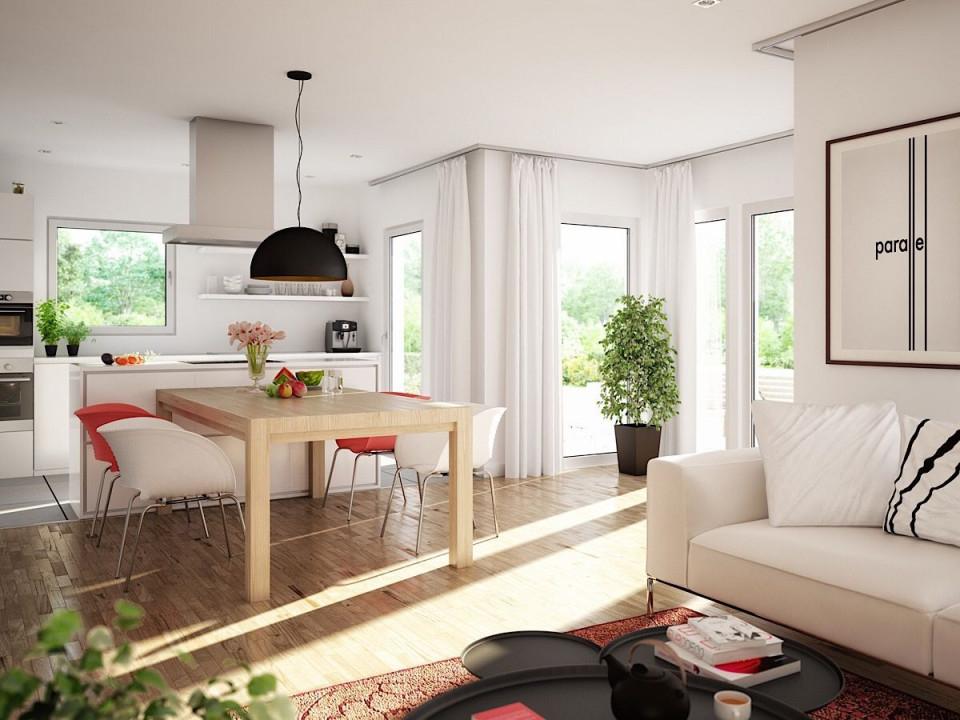 Offenes Wohnesszimmer Mit Küche  Wintergarten Erker von Wohnzimmer Mit Esstisch Ideen Photo