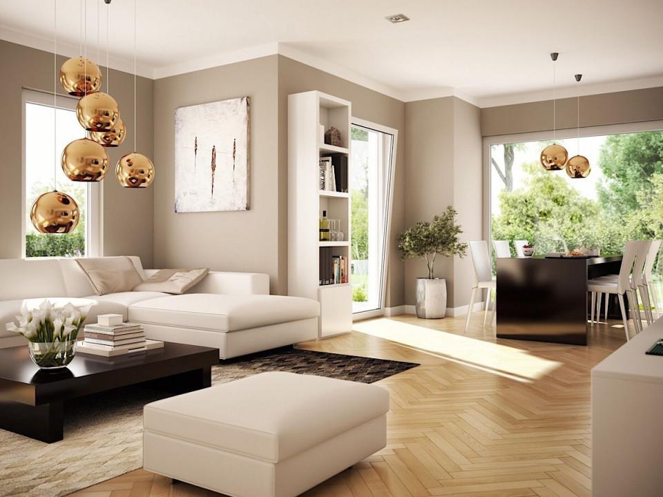 Offenes Wohnzimmer Mit Essbereich  Erker Wandgestaltung von Wohnzimmer Gestalten Ideen Farben Bild