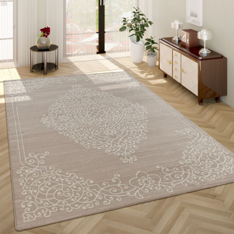 Orient Kurzflor Teppich Ornamente Creme von Teppich Im Wohnzimmer Photo