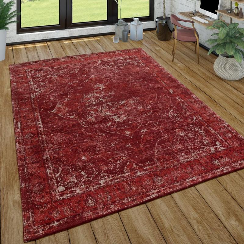 Orientlook Teppich Kurzflor In Rot  Teppich Wohnzimmer von Teppich Wohnzimmer Rot Bild