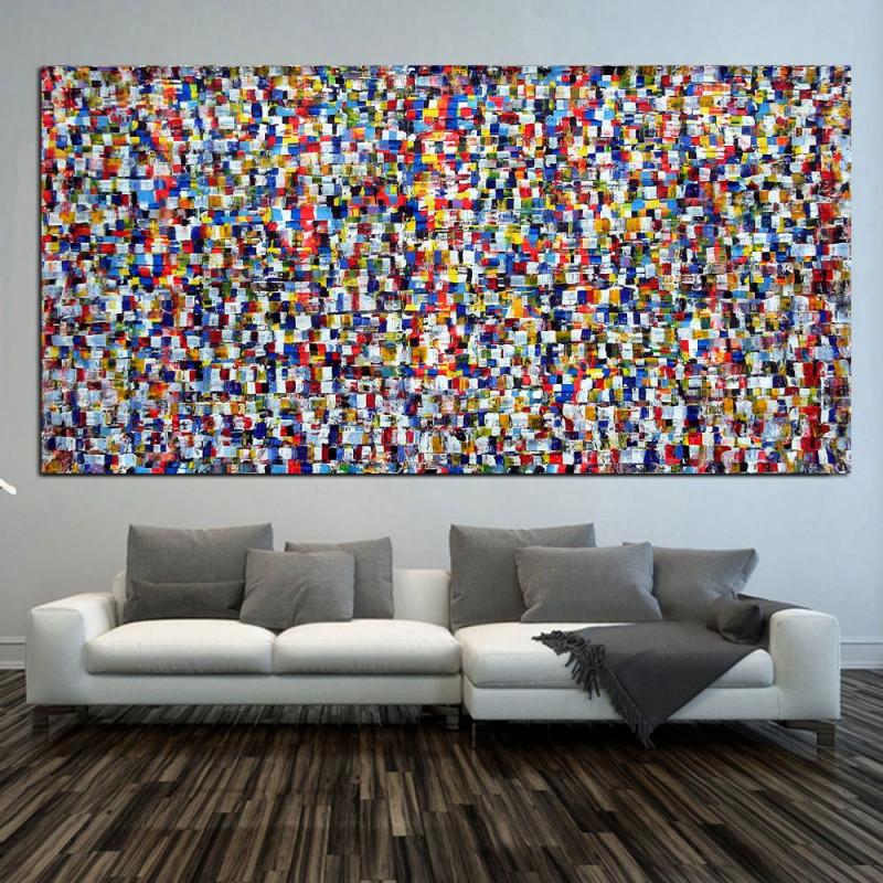 Original Xxl Gemälde  Abstrakt  Acryl 218 X 110 Cm von Bilder Großformat Wohnzimmer Photo