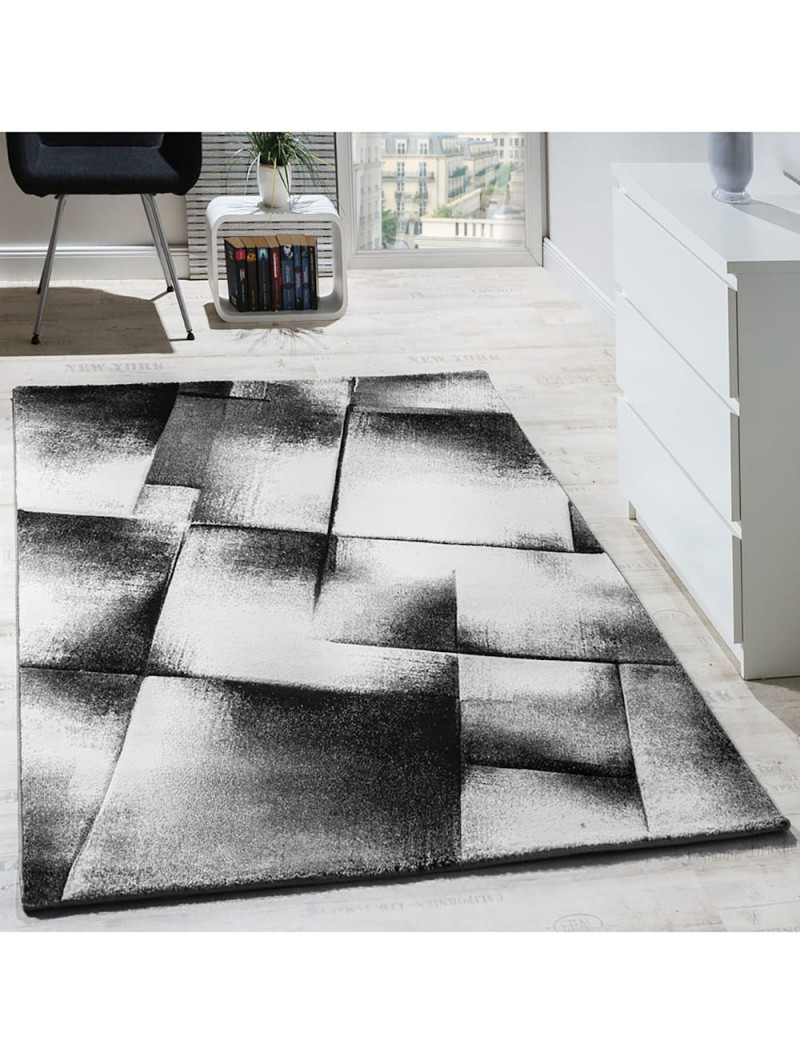 Paco Home Designer Teppich Wohnzimmer Teppiche Kurzflor Meliert Lila Grau  Schwarz Creme  Klingel von Wohnzimmer Teppich Grau Kurzflor Bild
