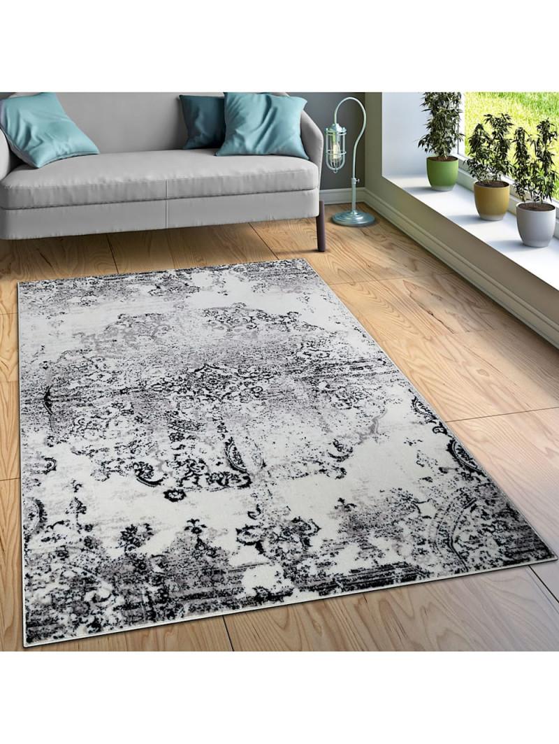 Paco Home Designer Teppich Wohnzimmer Teppiche Ornamente Vintage Optik  Schwarz Weiß  Klingel von Teppich Wohnzimmer Weiß Bild