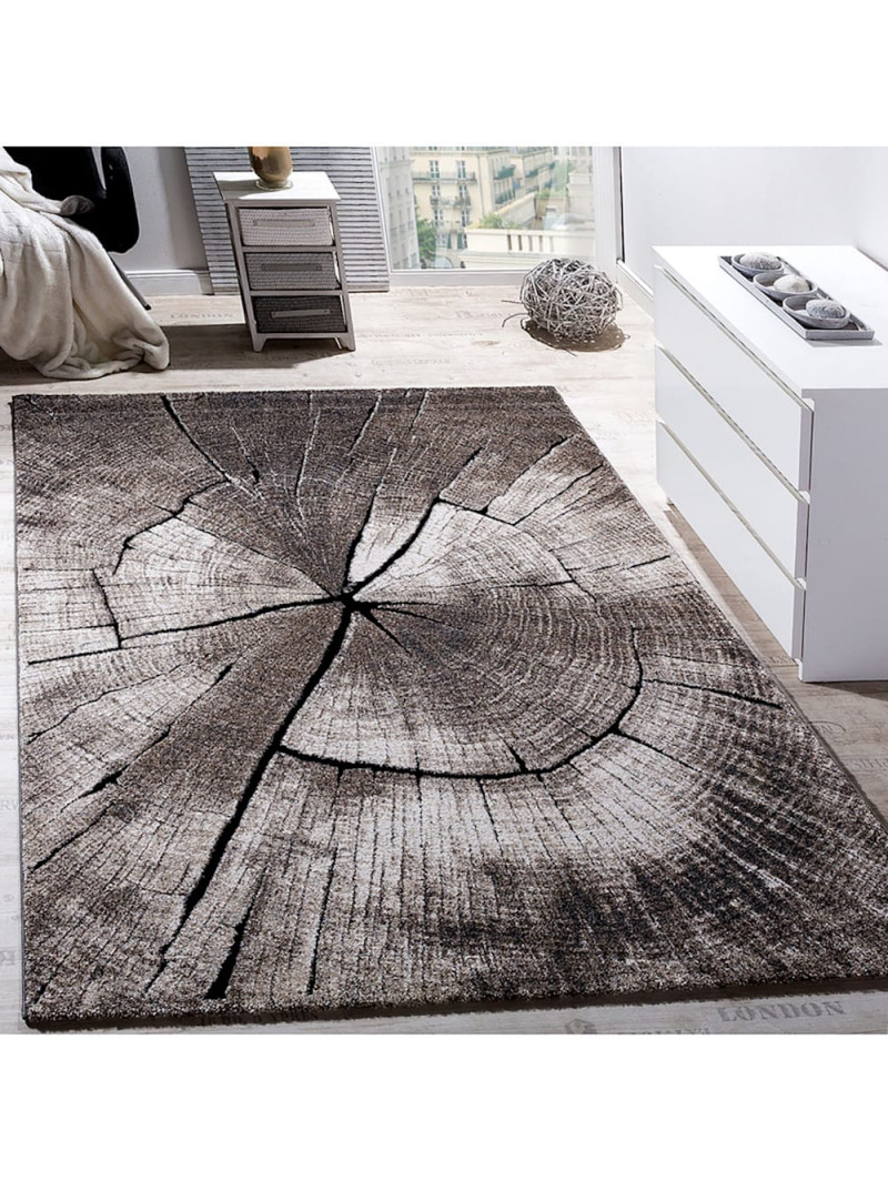 Paco Home Edler Designer Teppich Wohnzimmer Holzstamm Baum Optik Natur Grau  Braun Beige  Klingel von Teppich Wohnzimmer Braun Photo