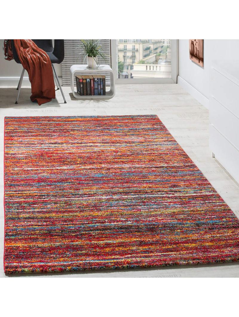 Paco Home Teppiche Modern Wohnzimmer Teppich Spezial Melierung Rot  Multicolour Meliert  Klingel von Wohnzimmer Teppich Modern Bild