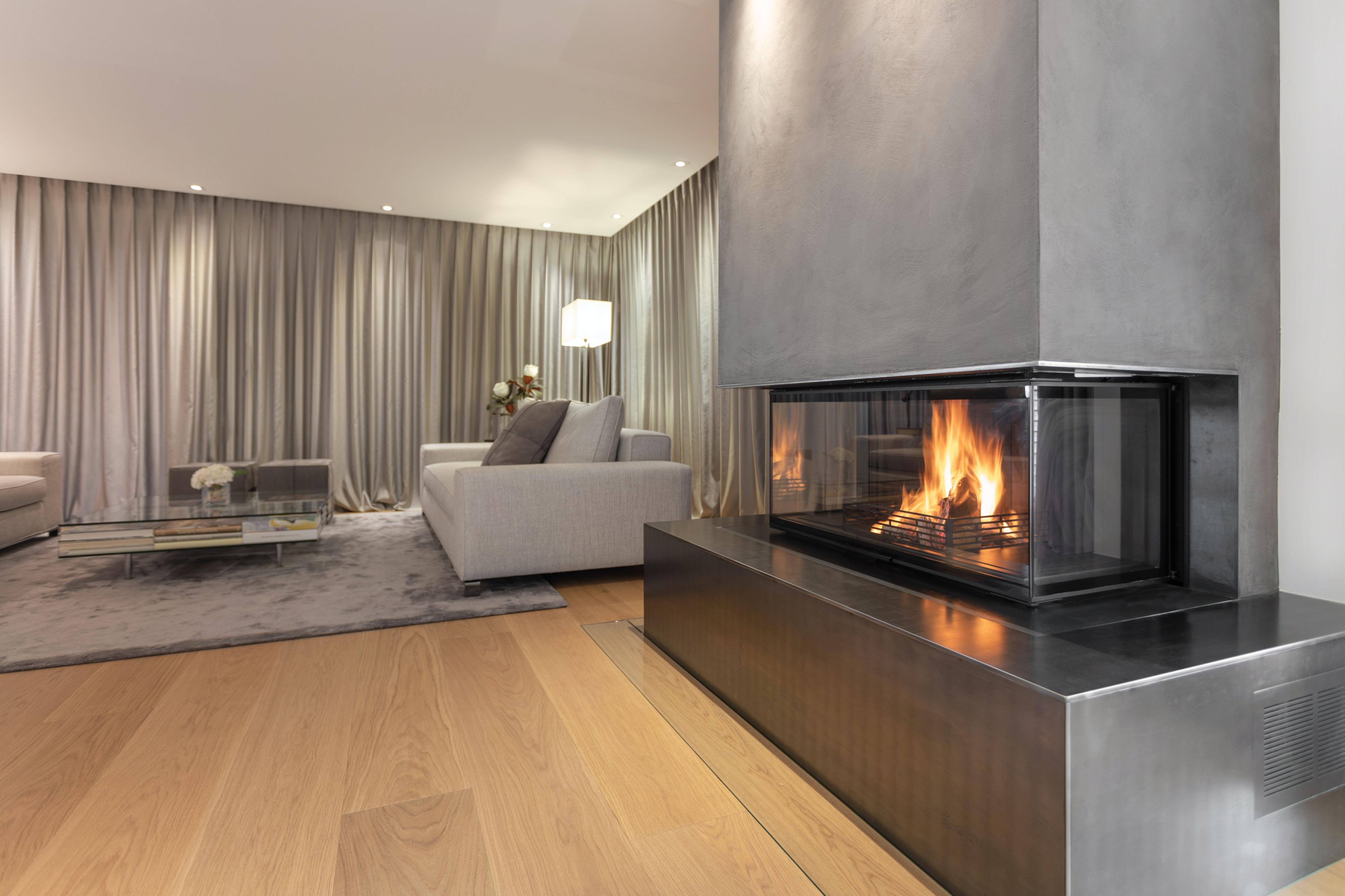 Panoramakamin Im Querformat Mit Stahlmantel Ofen Kaminofen von Bilder Querformat Wohnzimmer Photo