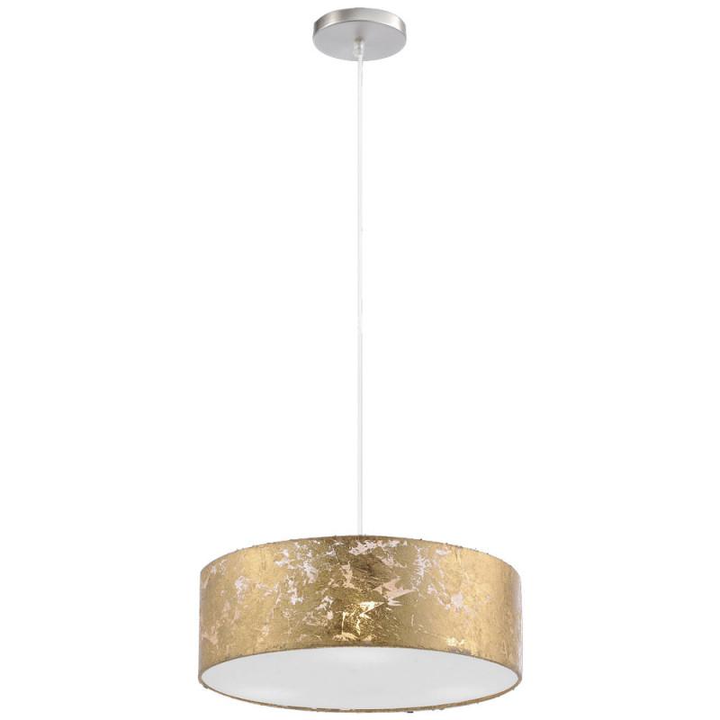 Pendel Decken Lampe Rund Gold Textil Schirm Wohnzimmer Strahler 3Flammig  Paul Neuhaus 842612 von Wohnzimmer Lampe Gold Bild