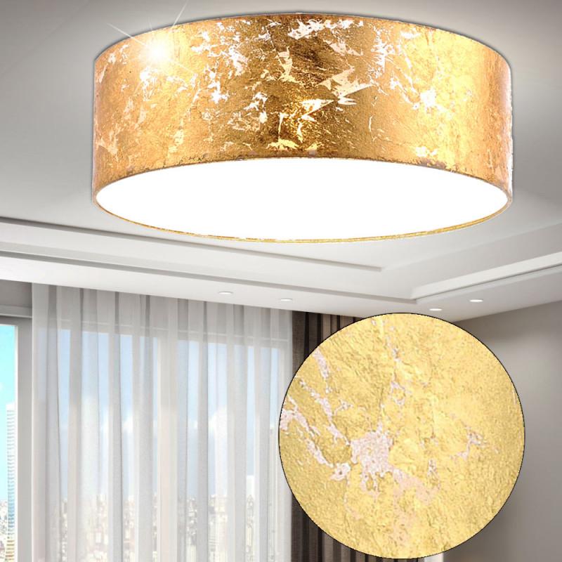 Pendel Decken Lampe Rund Gold Textil Schirm Wohnzimmer Strahler 3Flammig  Paul Neuhaus 842612 von Wohnzimmer Lampe Rund Bild