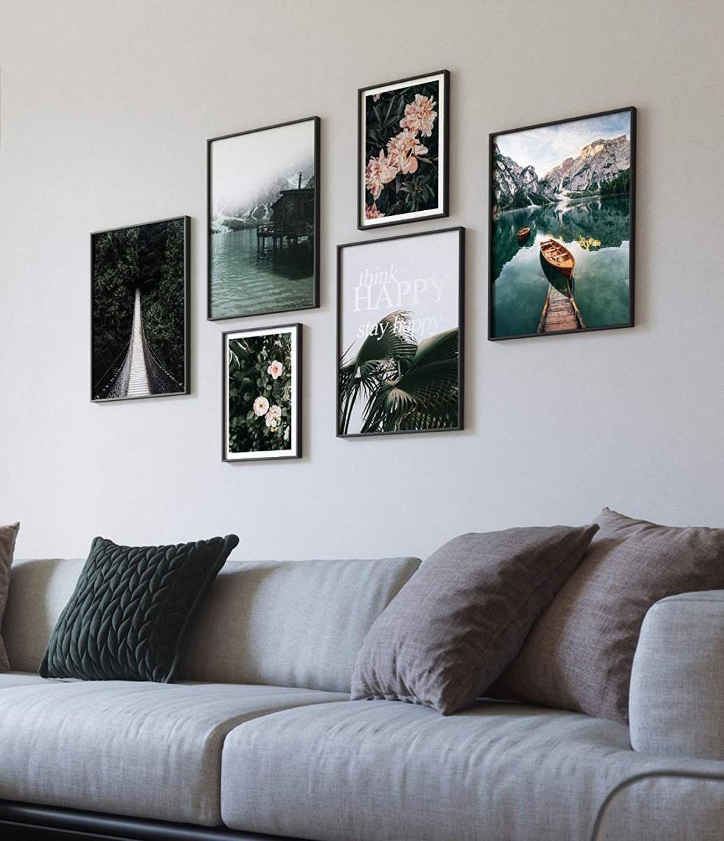 Premium Poster Set  Moderne Bilderwand Für Wohnzimmer Und von Bilder Mit Rahmen Wohnzimmer Photo