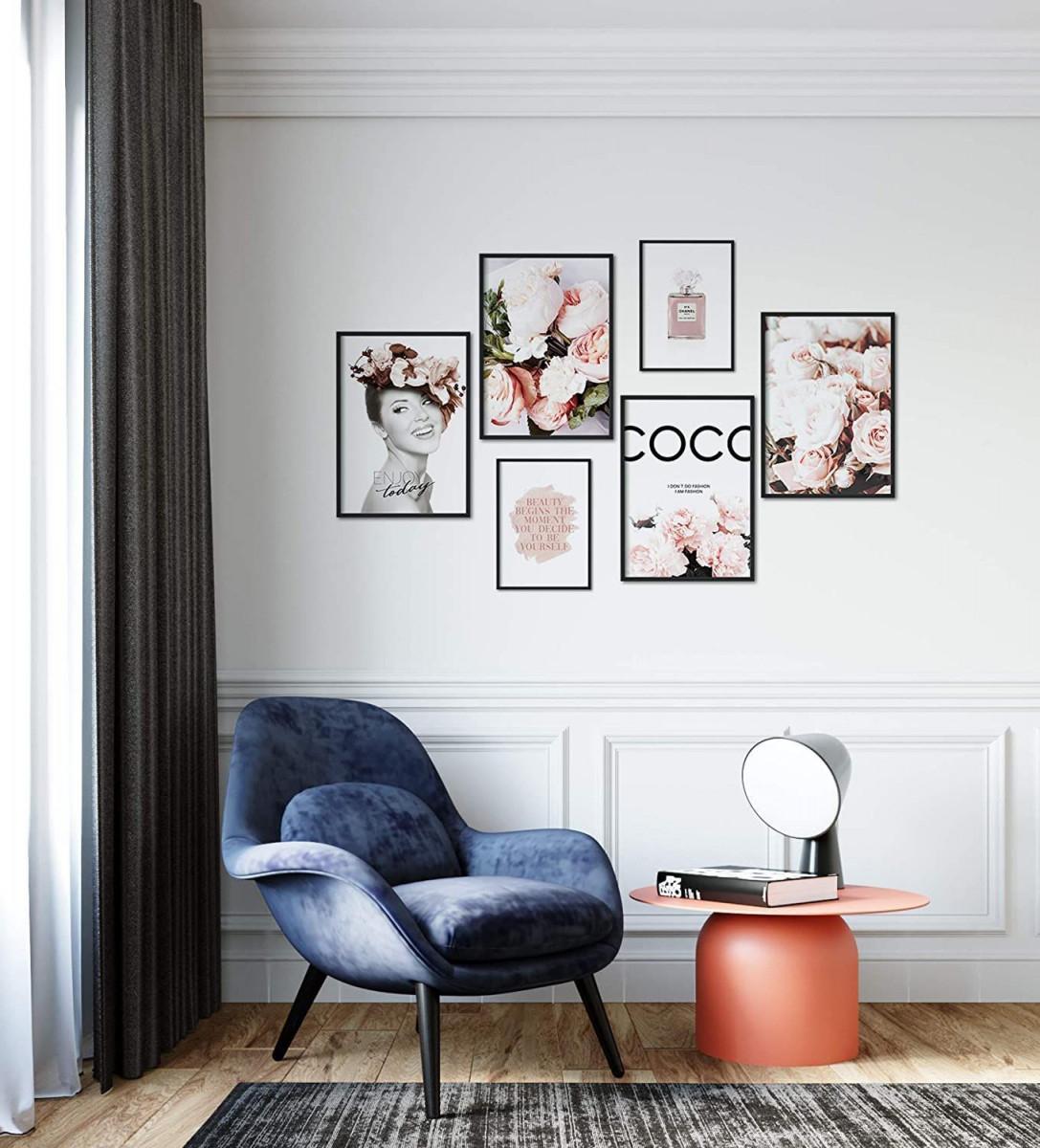 Premium Poster Set  Moderne Bilderwand Für Wohnzimmer Und von Moderne Bilder Wohnzimmer Mit Rahmen Bild