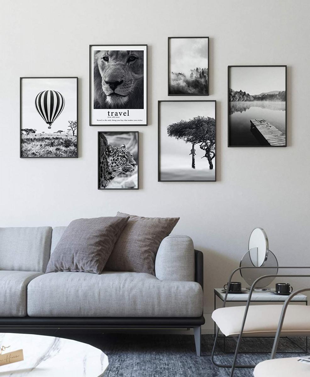 Premium Poster Set  Moderne Bilderwand Für Wohnzimmer Und von Moderne Bilder Wohnzimmer Mit Rahmen Photo