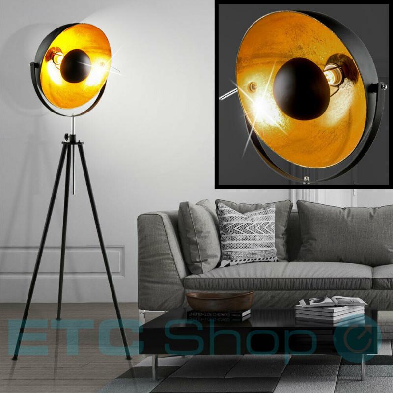 Retro Decken Fluter Vintage Scheinwerfer Studio Stehleuchte Schwarz Gold  Lampe von Scheinwerfer Lampe Wohnzimmer Bild