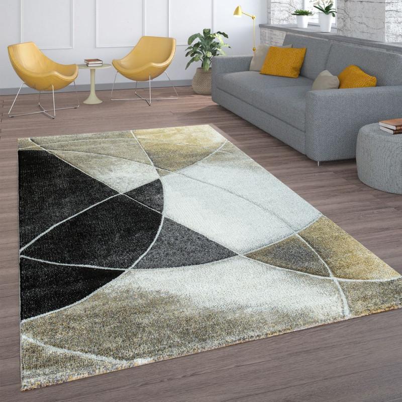 Retroteppich Wohnzimmer Linien von Wohnzimmer Teppich Schwarz Bild