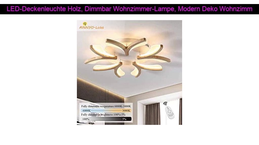 Review Leddeckenleuchte Holz Dimmbar Wohnzimmerlampe von Wohnzimmer Lampe Modern Photo