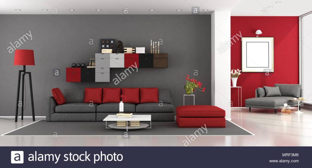 Rot Und Grau Modernes Wohnzimmer Mit Sofa Und Chaiselongue von Bilder Wohnzimmer Rot Grau Bild